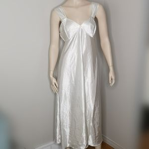 Vintage French Maid Ivory Satin Slip Dress Medium
